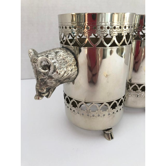 Silver Wild Boar Double Bottle Holder, Silver Plate Rare For Sale - Image 8 of 10