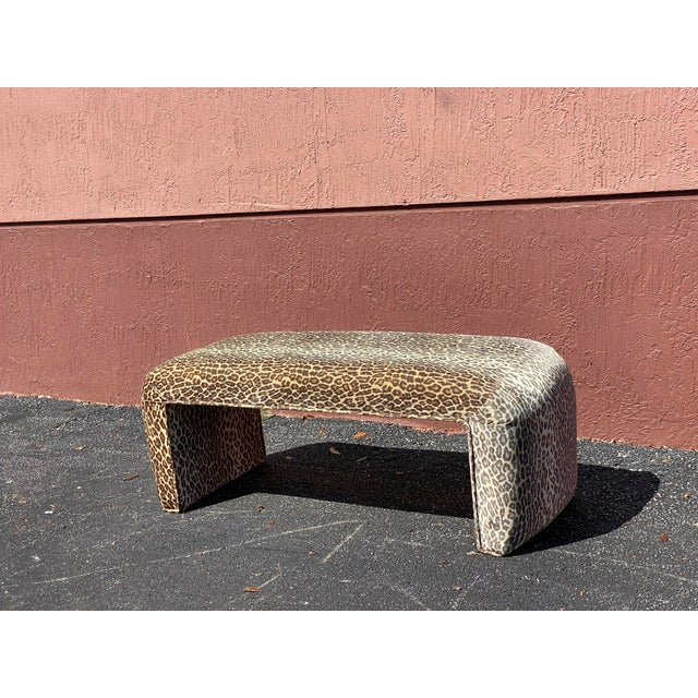Contemporary Leopard Velvet Waterfall Bench For Sale In Miami - Image 6 of 10