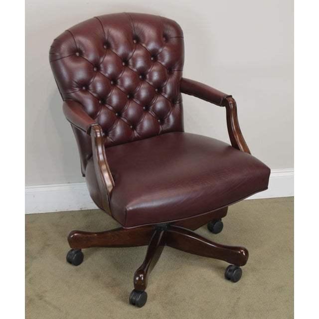 High Quality American Made Genuine High Grade Leather Upholstered Rolling Desk Chair by Paoli Inc.