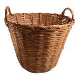 Image of Mid 20th Century Vintage Wicker Basket With Handles For Sale