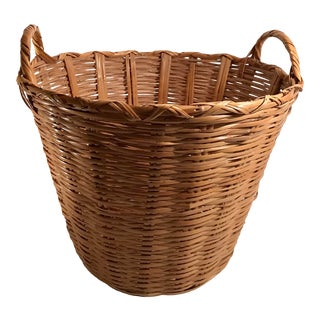 Mid 20th Century Vintage Wicker Basket With Handles For Sale
