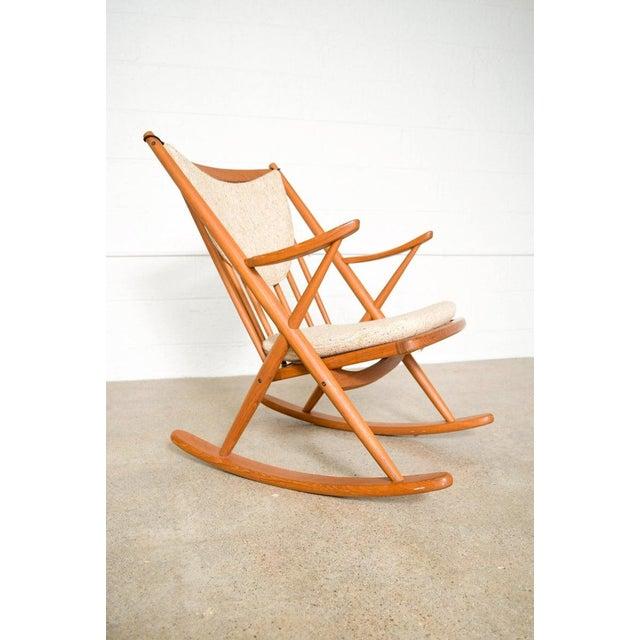 Wood Vintage Mid Century Danish Modern Frank Reenskaug for Bramin Teak Wood Rocker Rocking Chair, 1960s For Sale - Image 7 of 11