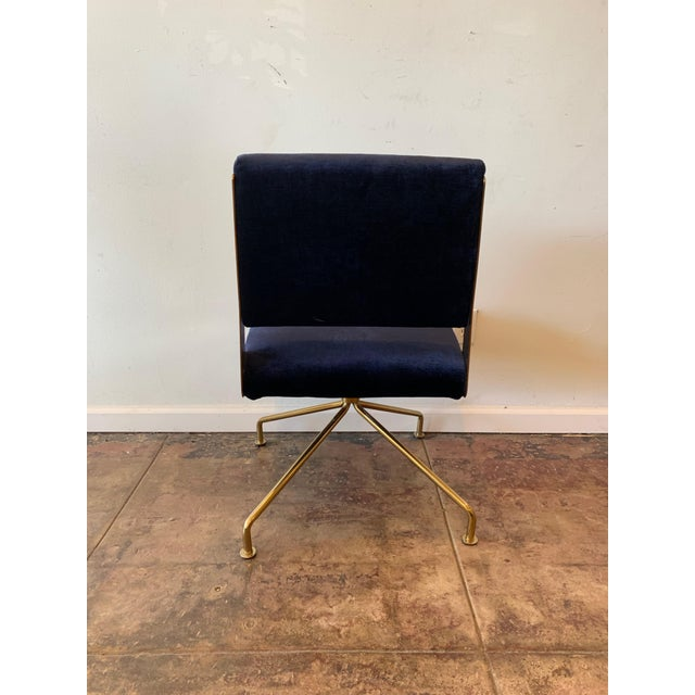 Contemporary Brass Office Chair With Blue Velvet For Sale - Image 3 of 4
