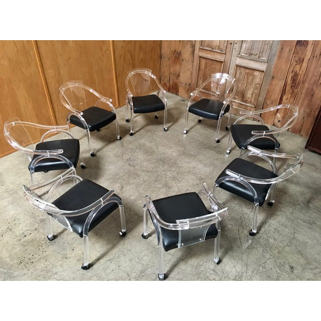 Late 20th Century Vintage Mid Century Sculptural Lucite Dining Chairs- Set of 8 For Sale - Image 5 of 13