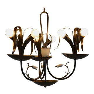 Italian Flower Bouquet Chandelier in Brass, Gio Ponti Era, 1940s For Sale