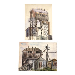 Gallery Wall Collection Vintage Industrial Watercolor Paintings - a Pair For Sale