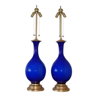 Marbro Murano Glass Table Lamps Blue For Sale