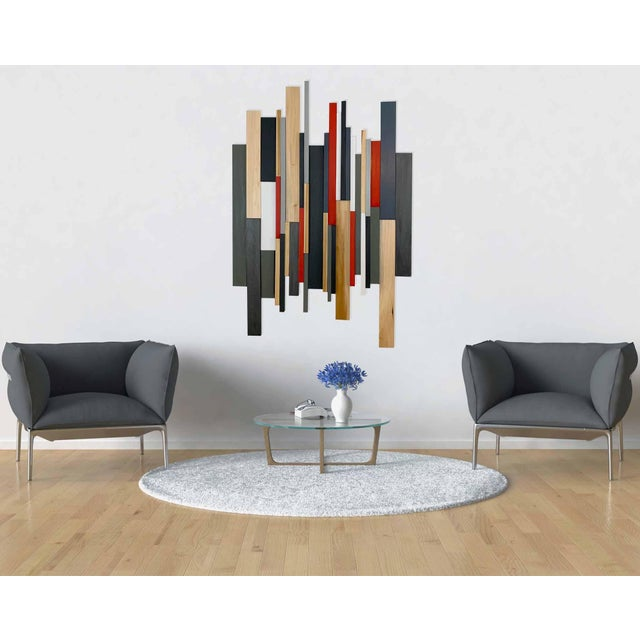 Modern wall art, Unique contemporary wall decor, or Modern art for office. This piece is made from different cuts of wood....