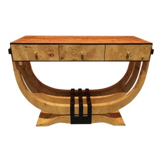 1950s Art Deco Style Burl Wood Console Table For Sale
