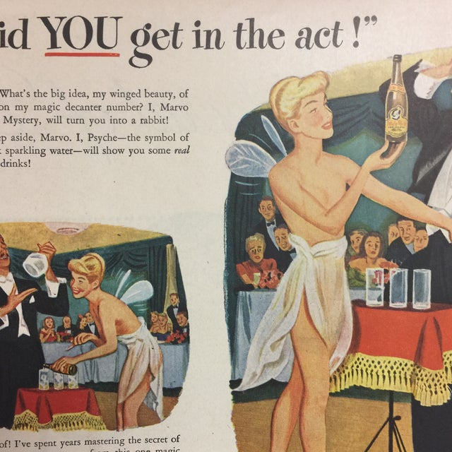 Mid-Century Modern Vintage White Rock Sparkling Water Ad, 1940s For Sale - Image 3 of 4