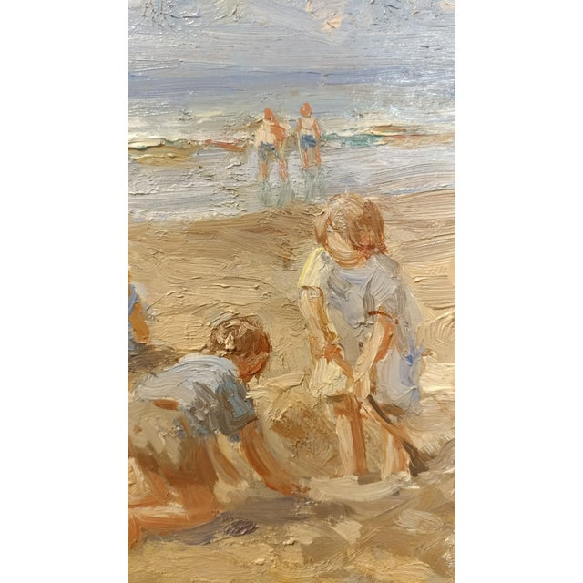 "Anton Karssen ""Children Day at the Beach"" Original Oil Painting - Image 6 of 10"