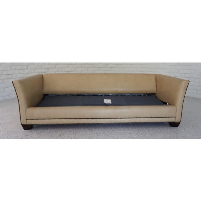 1980s Traditional Light Camel Leather Sleeper Sofa For Sale - Image 5 of 11