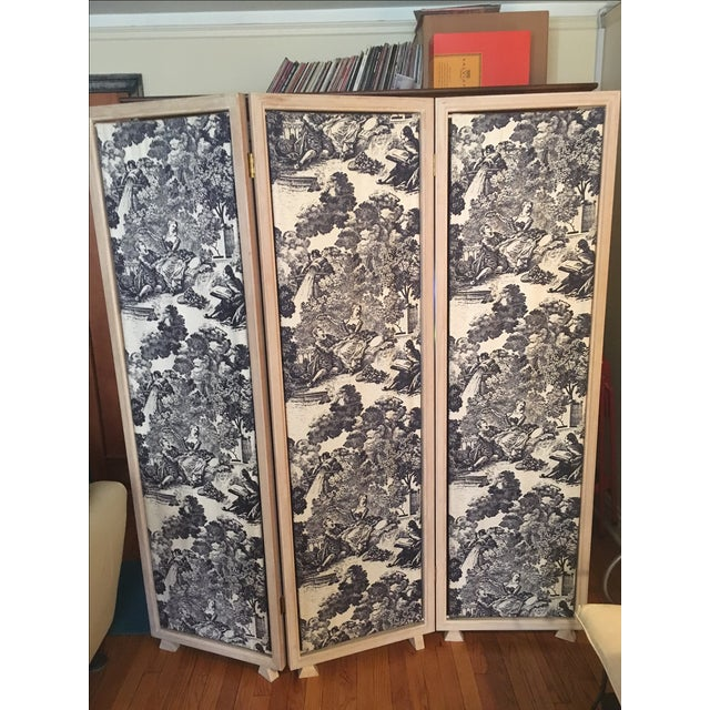 French Country Black & White Toile Folding Screen For Sale - Image 3 of 6