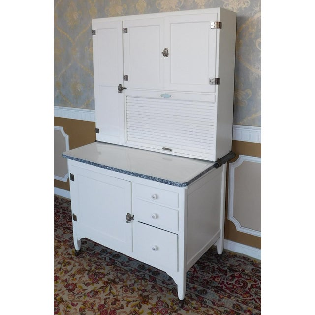 Country Antique Sellers Restored Painted White Hoosier Kitchen Cabinet C1890 For Sale - Image 3 of 13