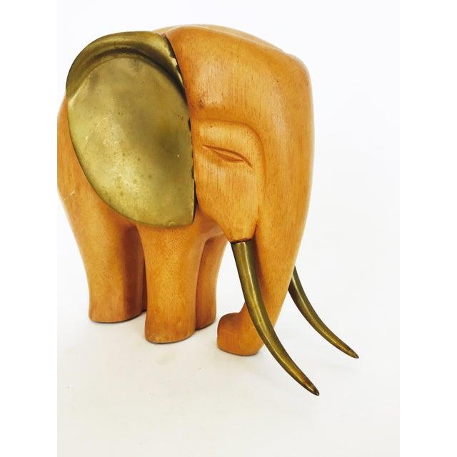 Vintage Large Wood and Brass Elephant - Image 3 of 6