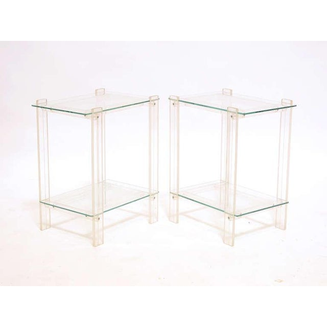 Pair Of Lucite And Glass End Tables/ Night Stands - Image 3 of 7