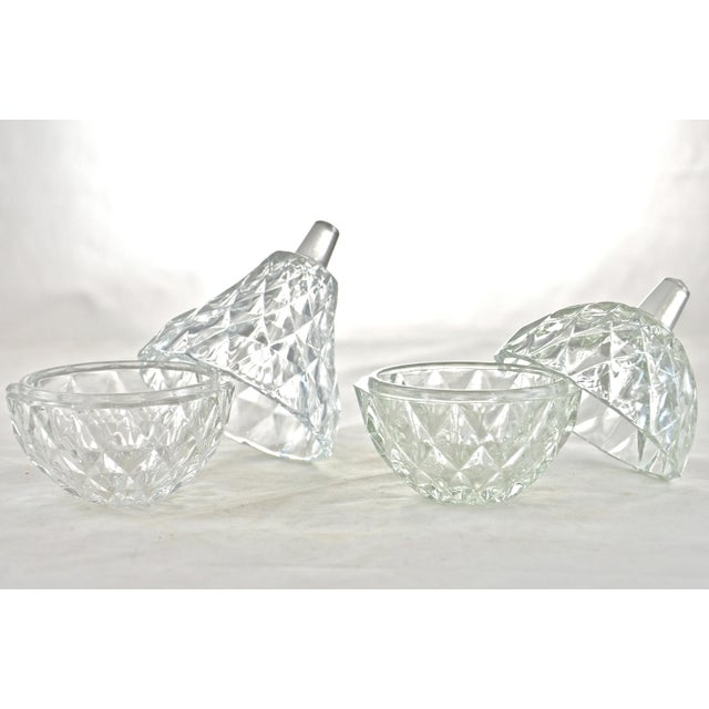 "Sparkling diamond pattern vintage glass lidded pear and apple containers. Pear, 2.5""W x 4.25""H; apple, 2.5""W x 3.75""H. No..."