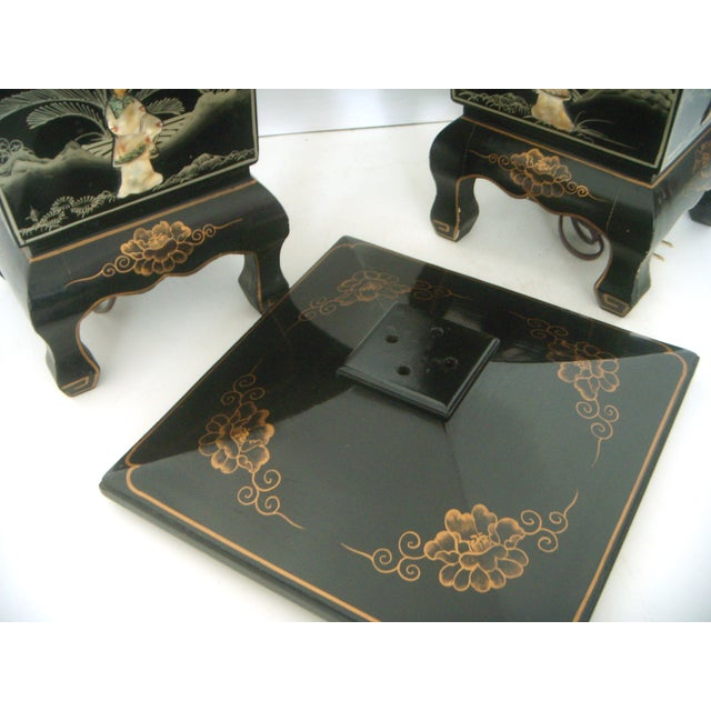 Vintage Lacquered Chinese Lanterns - A Pair - Image 6 of 9