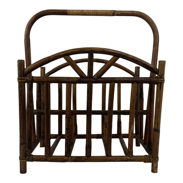 English Bamboo Magazine Rack Ca 1900-1920 For Sale