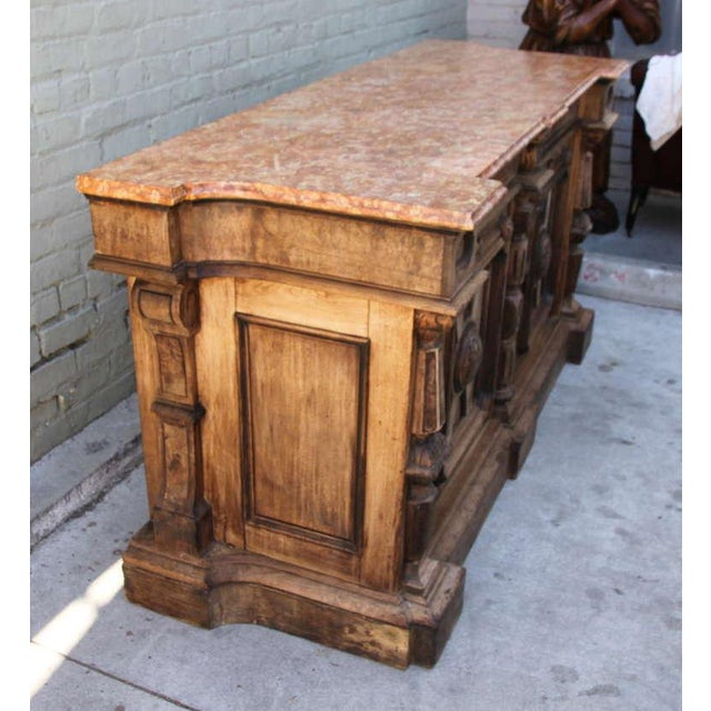 Italian Walnut & Marble Top Credenza - Image 4 of 10