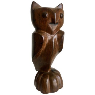 Carved Wooden Folk Art Owl For Sale