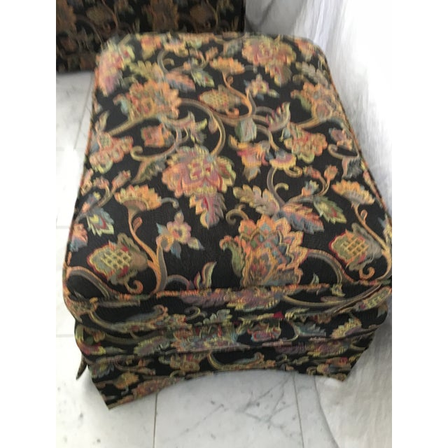 Drexel Heritage Oversized Tufted Chairs & Ottoman For Sale - Image 9 of 11