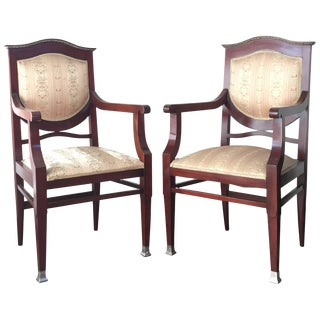 19th Century Regency Pair of Armchairs in Mahogany Influenced Art Deco Style For Sale