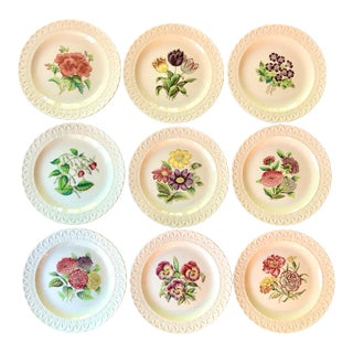 Early 20th Century Copeland Spode Scalloped Flower Plates - Set of 9 For Sale