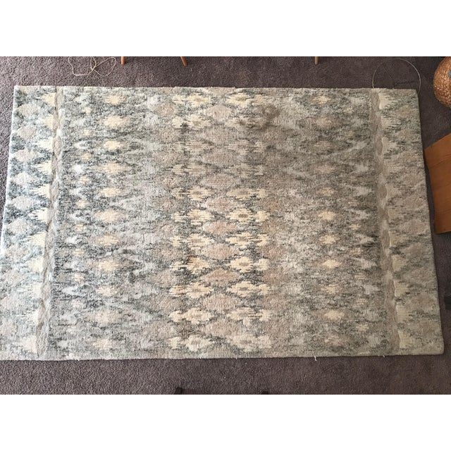 2010s West Elm Handcrafted Ikat Wool For Sale - Image 5 of 11