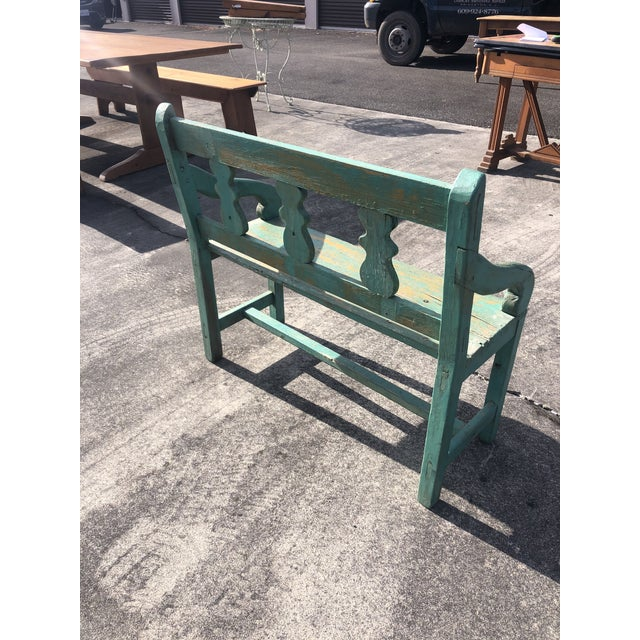 Distressed Turquoise Antique Santa Fe Bench For Sale - Image 9 of 13