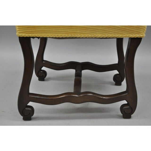 Walnut Early 20th Century Walnut Os De Mouton Louis XIV French Style Upholstered Dining Chairs- Set of 10 For Sale - Image 7 of 12