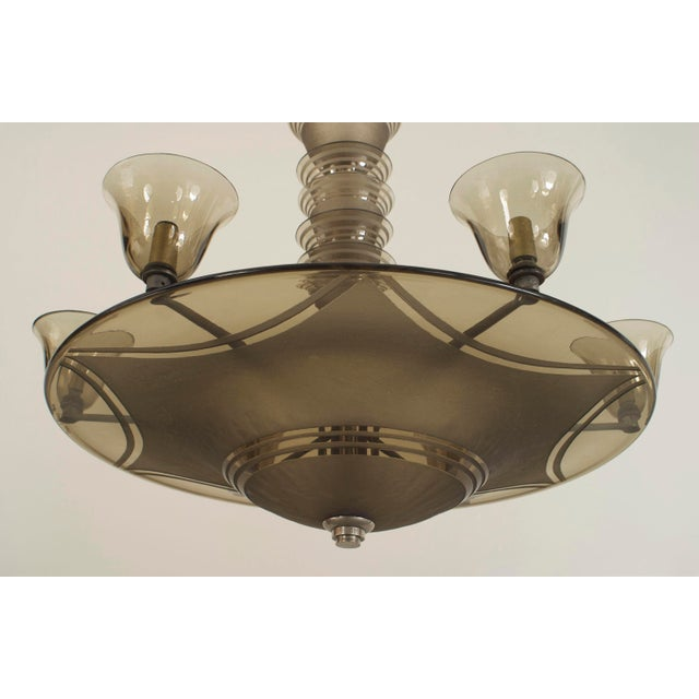 French Art Deco (circa 1937) smoky glass dome shaped chandelier with an acid-etched swag and circular design supporting 6...