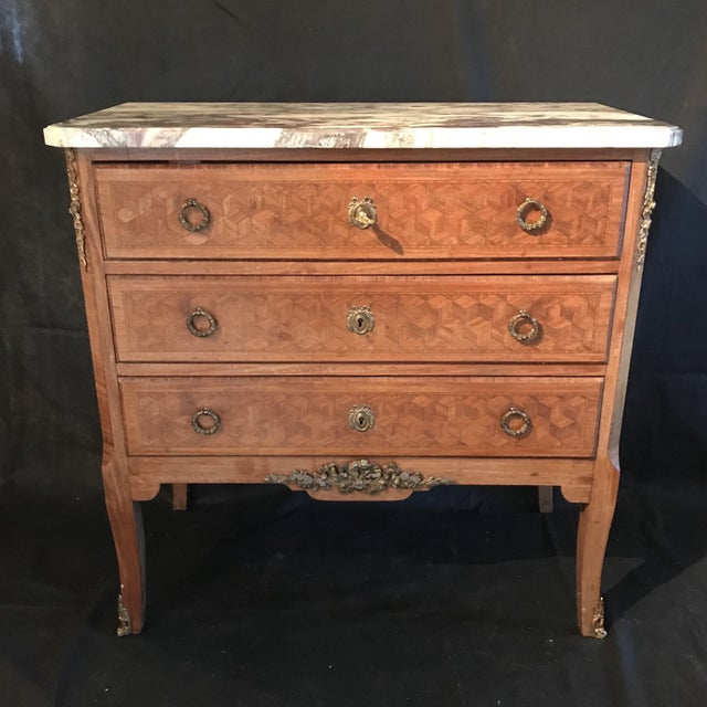 French Antique Marquetry Commode or Chest of Drawers With Marble Top For Sale - Image 13 of 13