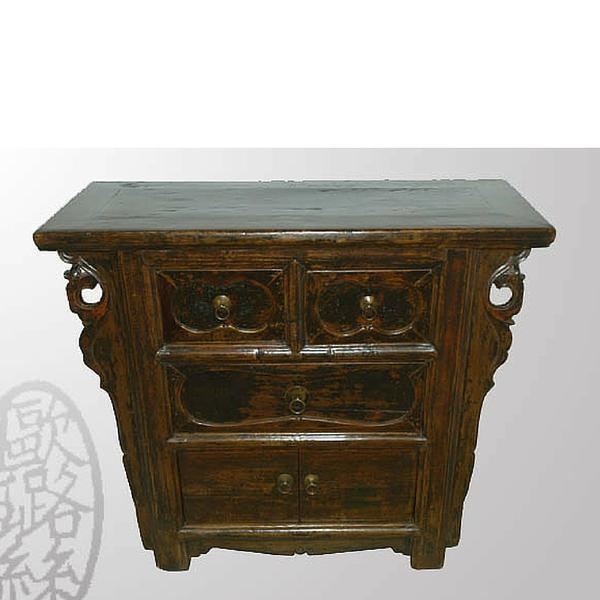 The deep wood tone of this cabinet shows its age in some parts, giving it a unique and rustic appeal. Two small drawers,...