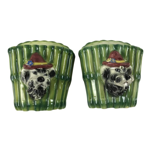 1950s Italian Majolica Poodle Dog Wall Pockets - a Pair For Sale