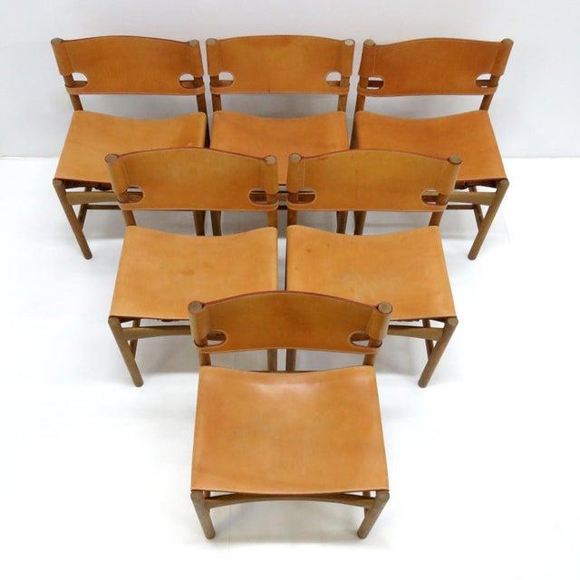 "Brown 1960s Vintage Børge Mogensen ""Hunting"" Chairs- Set of 6 For Sale - Image 8 of 11"