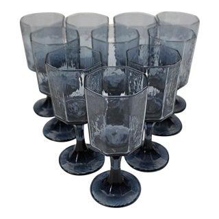 1980s Libbey Modern Octagonal Blue Wine Glasses - Set of 10
