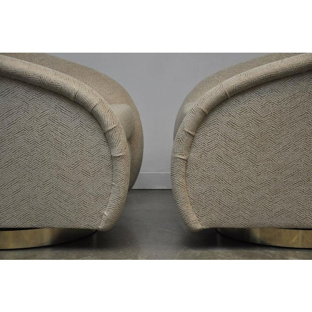 Brass Pair of Milo Baughman Swivel Chairs on Brass Bases For Sale - Image 7 of 8