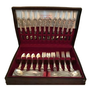 Reed and Barton Burgundy Sterling Silver Flatware Set - 70 Pieces For Sale