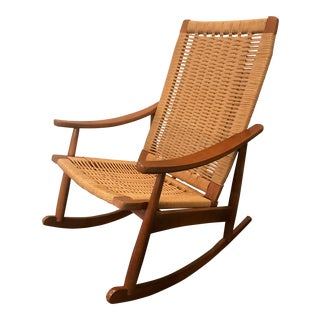 20th Century Danish Modern Rope Rocking Chair