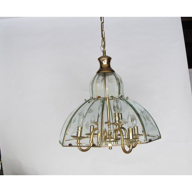 1970s Brass and Etched Glass Chandelier - Image 5 of 5
