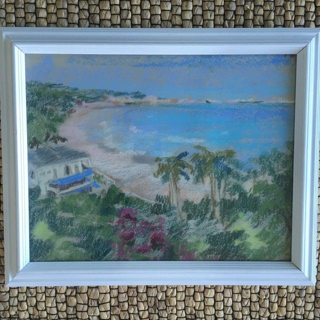 Original Oil Pastel Caribbean Coastline Seascape Framed Art - Image 6 of 10