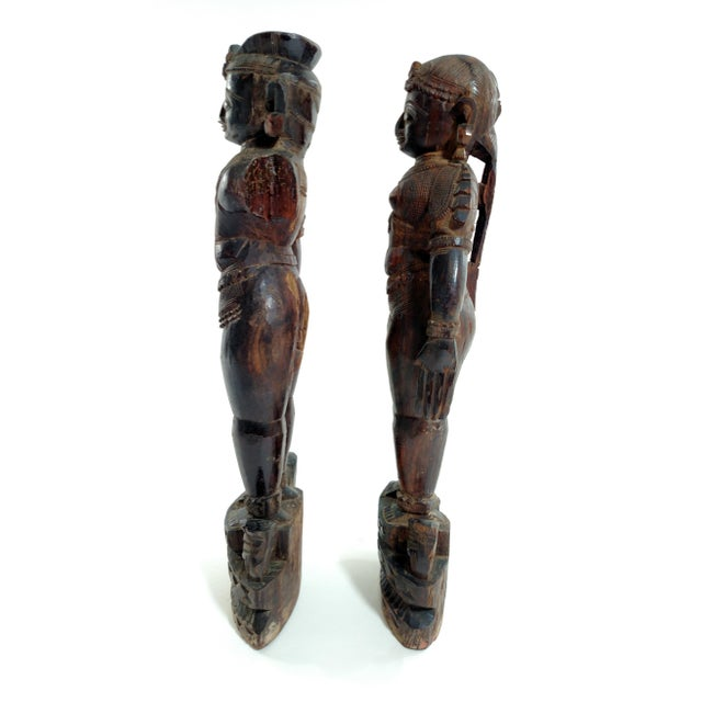 Antique Carved Indian Figures - A Pair - Image 5 of 7