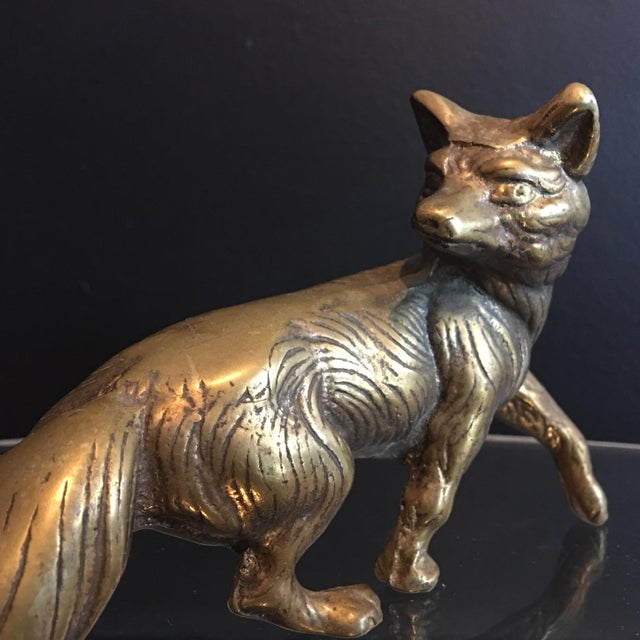Solid Brass Fox Sculpture For Sale - Image 5 of 6