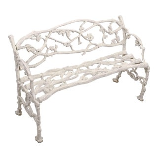 English Garden Bench or Seat of Cast Iron in the Coalbrookdale Style For Sale