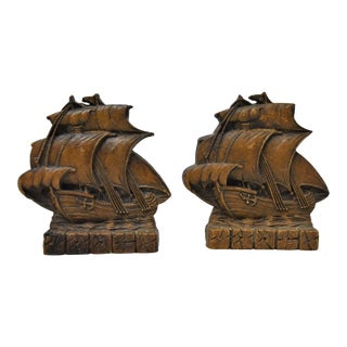 Vintage Syroco Pressed Wood Bookends - A Pair