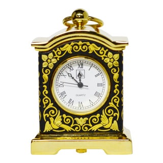 Anframa Toledo Spain Damascene Mantle Carriage Clock, 24k Gold For Sale
