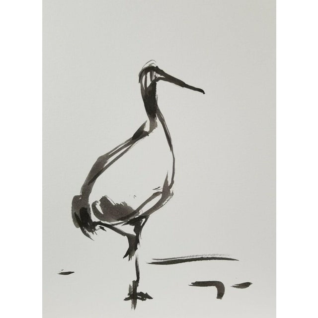 "Jose Trujillo Abstract Minimalist Ink Wash - Marsh Long Beak Bird - 9x12"" For Sale"