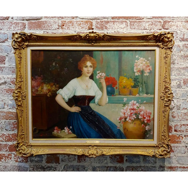 """Luis Doret """"The Beautiful Flower Girl"""" Oil Painting, 19th Century For Sale - Image 11 of 11"""