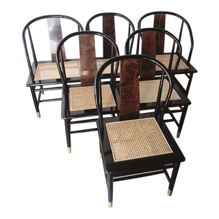 Mid Century Henredon Chinoiserie Black Lacquer Cane Seat Dining Chairs - Set of Six For Sale